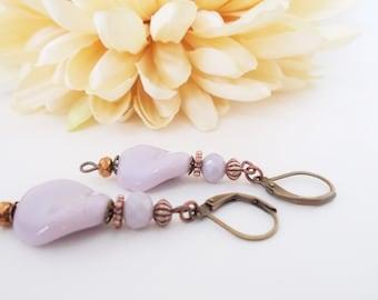 Lavender Earrings, Bridesmaids Gift, Spring Wedding Jewelry Handmade Gift, Easter Basket Stuffer Gift for Her, Boho Bridal Earrings Copper
