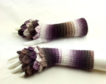 Fingerless gloves - Arm warmers  -Fingerless Mittens - Hand warmers-Dragon Gloves