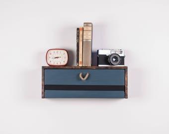 Wood floating shelf with drawer - Floating nightstand with drawer - Wall hanging nightstand - Wooden wall hanging shelf with drawer