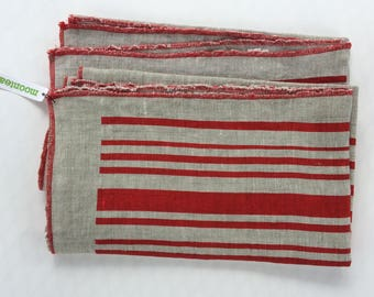 Tea Towel Set, Hand printed Linen, Stripes, Nautical, Red on Natural, Eco Dish Towels, Hostess Gift