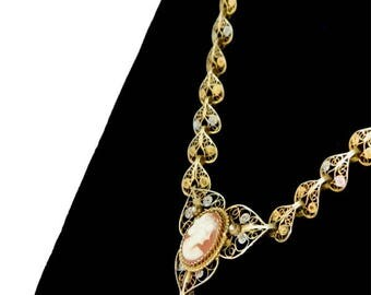 Antique Shell Cameo Pendant Necklace Gold on Silver