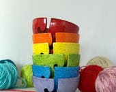 Ceramic Knitting Bowl | Fun Yarn Bowl | Knitting Bowl | Rainbow | Yarn Bowls from my Charleston, SC Studio