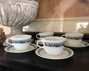 Corelle Old Town Blue Onion Cups & Saucers Pyrex Compatibles Mugs Vintage Corning Set 4 - #G1007.1653