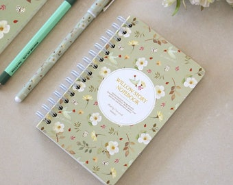 C011 Willow Story Blank Notebook, Wire Bound, Mint, small, pocket size, floral, flower, whimsical, sketchbook, art book, journal
