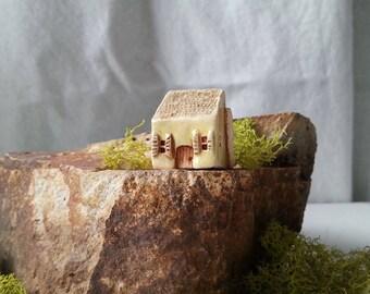 tiny house miniature house pale green cottage with shutters textured roof enchanted fairy garden decor miniature flowerpot gardening decor