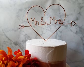 Rustic Cake Topper - Wire Cake Topper - Heart Mr and Mrs Cake Topper - Copper Cake Topper - Rustic Chic - Heart and Arrow - Barn Wedding