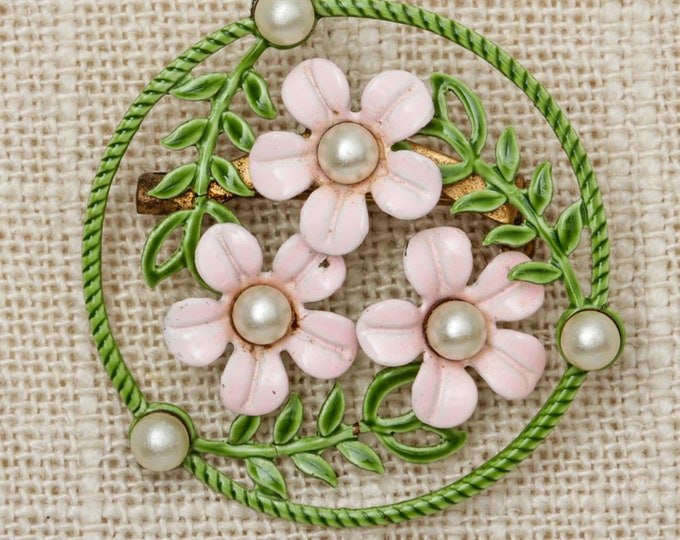 Pink Floral Brooch Vintage Green White Pearl Broach Vtg Pin 7P