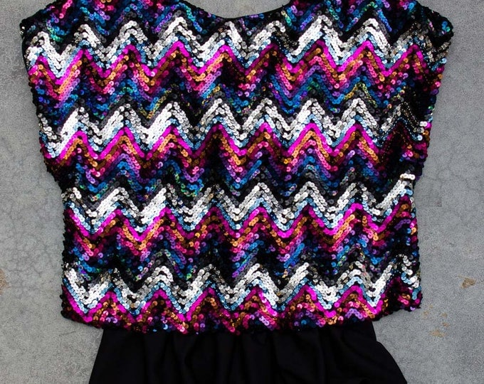 Gorgeous Vintage Sequin Top Sleeveless Multicolor Pink & Purple Flounce Shirt Made in USA 1970s 80s Gold Silver Sparkle | 7V