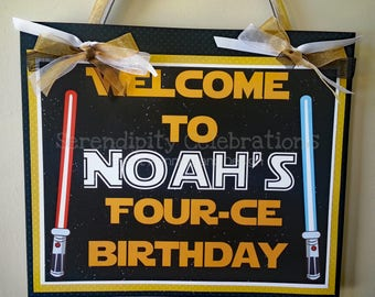 Door Sign, Welcome Sign, Hanging Sign, Photo Prop, Star Wars, Birthday Sign, Party Sign, Black Gold, May the Force be with you, space wars