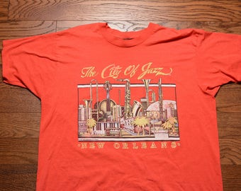vintage 80s New Orleans t-shirt City of Jazz tee shirt Screen Stars XXL 2X 1980 jazz festival Bourbon St Mardi Gras