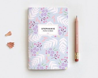 Floral Personalized Journal & Pencil Set, Midori Insert - Hand Drawn Illustrated Leaves Purple Floral Notebook