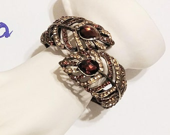Russian Clamper Bracelet Brown Clear Rhinestones Gold Tone Vintage Jewelry Jewellery Accessories Gift Guide Women