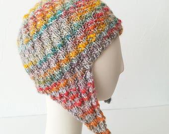 Hand Knit Herringbone Aviator Hat in Rainbow Mix – Adult One Size