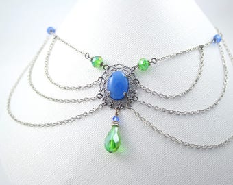 Victorian Style Necklace with Blue Agate and Green Crystal - Available as a set with earrings and bracelet - Renaissance, gothic, baroque