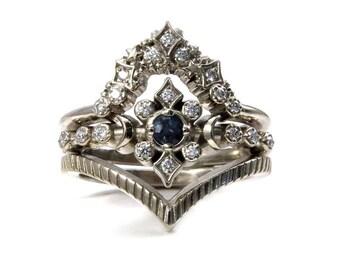 Moon and Star Alexandrite Engagement Ring Set with Stardust Diamond Wedding Band and Textured Chevron - 14k Palladium White Gold