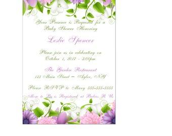 Enchanted Garden Baby Shower / Wedding Invitation - Enchanted Forest Invitation - Fairy Invitation - Flower Baby Shower Invitation