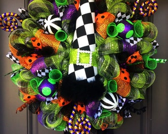 Halloween Wreath, Halloween witch wreath, Halloween witch door wreath, witch wreath, witch decor, Halloween decor
