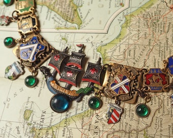 Wanderlust- Vintage Assemblage Statement Necklace- Sailing ship, Enamel Shield Charms, multi-color- One of a kind- Travel Charms, red green