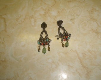 vintage clip on earrings goldtone filigree glass bead dangles
