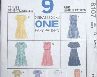 Easy Vintage Sewing Pattern McCall's 8107 Pullover Princess Dress w/ Sleeve Neckline Options Womens Miss Size 8 10 12 Bust 31 32 34 Uncut FF