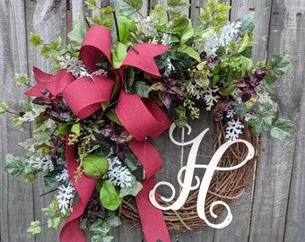 Year Round Wreath, Herb Wreath, Burgundy Wreath, Spring Summer Fall Wreath, Door Wreath, Horn's Handmade