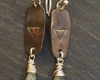 Water element, warrior earrings, tourmaline, givingthroughjewelry,ALCCREATIONS