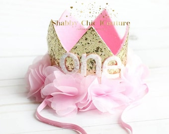 One Birthday Crown, Pink and Gold, First Birthday, Crown, Tiara, Shabby Chic Crown, Crown Hairband, Handmade, Baby Pink Crown, ONE, Hair