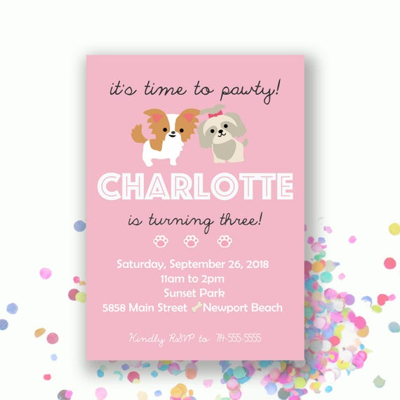 Puppy party birthday invitation dogs dog first second third il570xn filmwisefo Choice Image