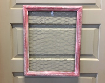 Pink & White Distressed Wood Frame Chicken Wire Jewelry Display Memo Board Photo Display--Farmhouse Wall Kitchen Decor-Upcycled Frame