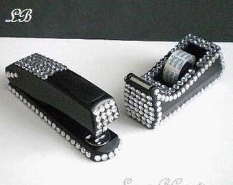 BLING STAPLER/DISPENSER Set - Full size black & bling tape dispenser and stapler w/ clear rhinestones