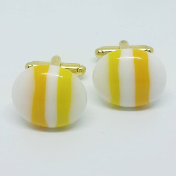 Yellow and White Stripes Glass Cufflinks