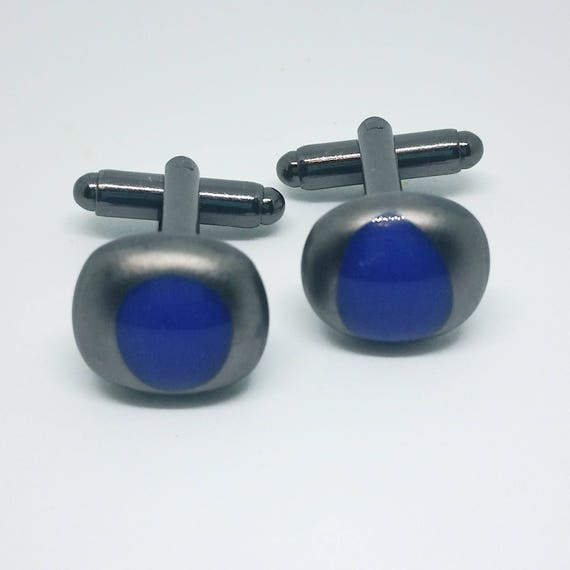 Blue and Pewter Glass Cufflinks