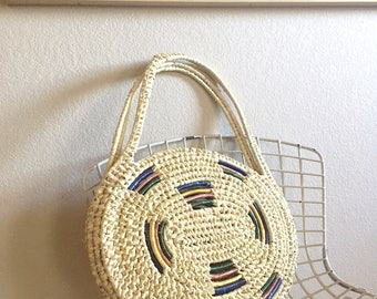 Vintage Basket Bag / Oversized Straw Tote / Round Circle Handbag / Raffia Detailing / Summer Basket