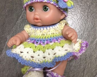 "Crochet pattern for Lil Cutesies Berenguer 8.5"" doll -dress, hat, knickers and booties"