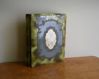 Antique Green Velvet Celluloid Victorian Photo Album - FREE SHIPPING in the US