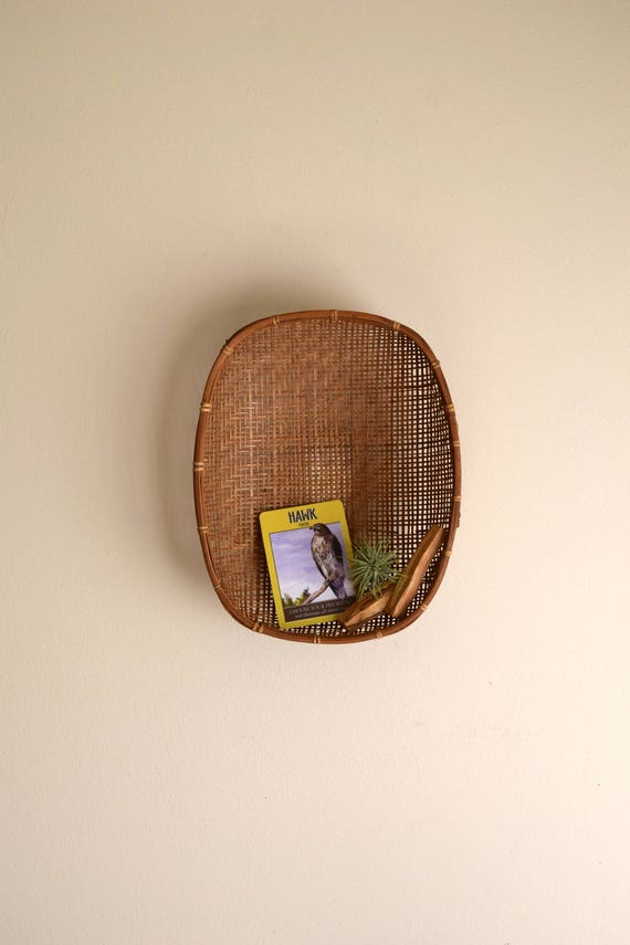 Vintage Hand Woven Oval Bamboo Wall Basket -  Bohemiam, Farmhouse, Natural, Ecletic