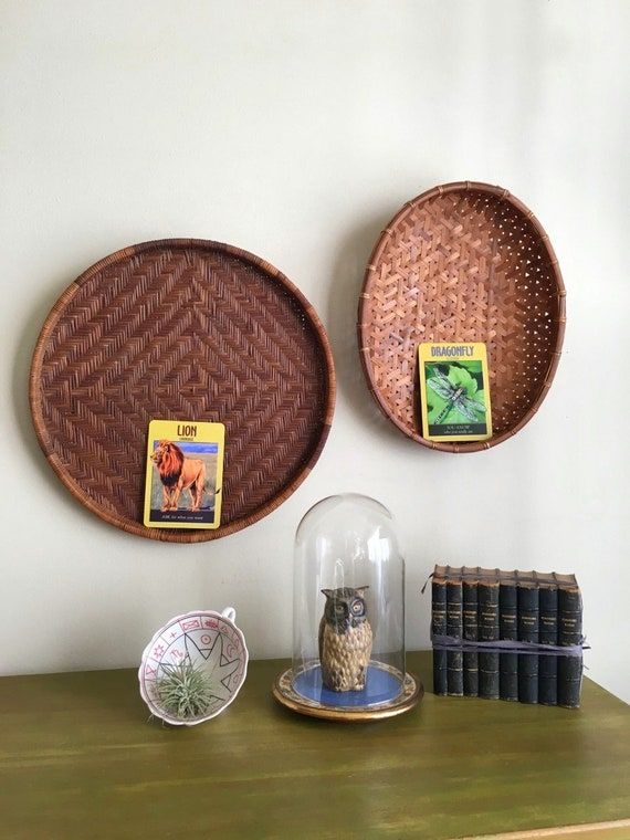 Two Vintage Hand Woven Round Wall Baskets -  Bohemiam, Farmhouse, Natural, Earth Inspired, Eclectic