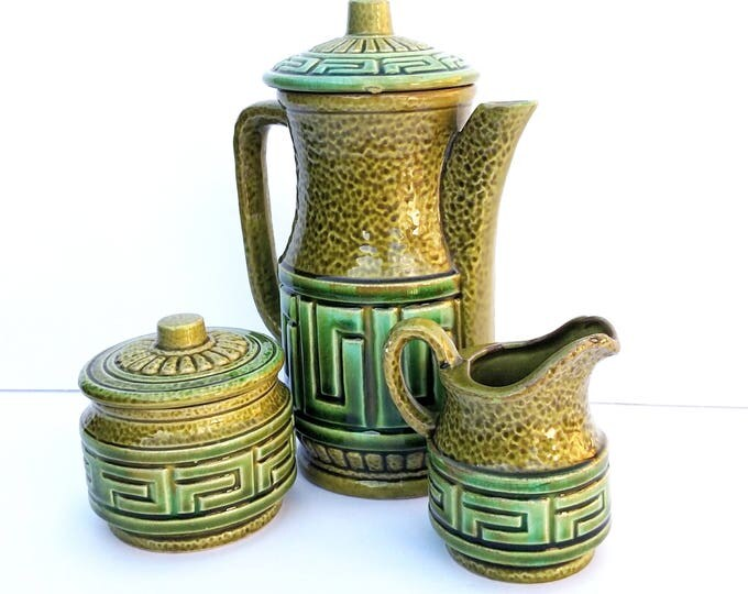 Vintage Deco Japanese Mid Century Ceramic Tea Set in Moss Green by Royal Sealy
