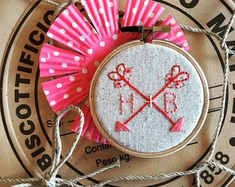 embroidery kit // custom monogram with sweet arrows embroidery kit - valentine embroidery - embroidery kit
