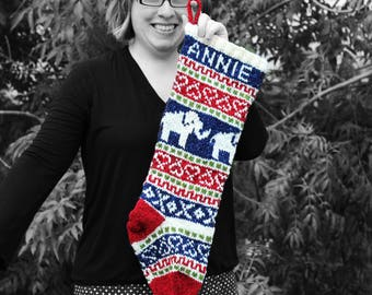 Elephant Christmas, Knit Holiday Stocking, Custom Knit Personalized, Fair isle Elephant, knit Christmas Stocking, Santa Sock, Made to Order