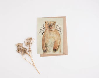 Brown Bear 4x6 Print. Watercolor Illustration. Botanical Print. Woodland Nursery Art. Brown Bear Wall Art. Woodland Animals Art. Nursery Art