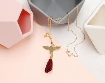 Red Tassel necklace with Brass Eagle Charm