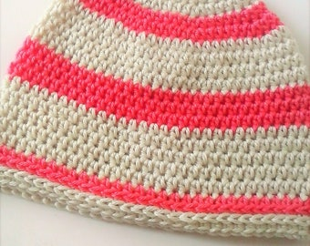 Brimless Striped Beanie - Ivory and Coral Striped Crochet Beanie - Skater Beanie - Ski Beanie - Hipster Beanie - Chemo Hat