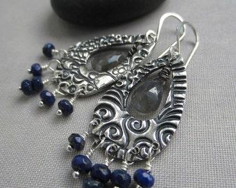 sale 20% off/ Oxidized Silver Dangle/ Labradorite Earrings/ PMC earrings/ Lapis earrings/ Texturized Silver Earrings/ Silver Chandelier