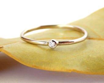 Tiny Diamond Ring:  14K Solid Gold ring, diamond ring, petite ring, dainty ring, simple ring, gold ring, wedding ring, engagement ring