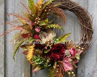 Fall Wreath, Autumn Wreaths, Elegant Fall Wreath, Fall Woodland Wreath, Fall Designer Wreath, Victorian Wreath, Country French Fall Decor