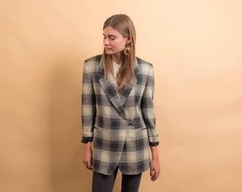 Checkered 80s Blazer / Pure Wool Blazer / Vintage 80s Blazer / Tailored Blazer Δ fits sizes: XS/S/M