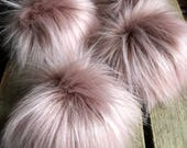 Muse Faux Fur Pom Poms Limited Edition Pink Blush Rose Plush Fluffy Handmade Vegan Cruely Free for Toques Beanies Hats