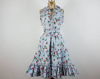 CLEARANCE SALE rose garden | vtg 1960s halter dress | fit flare | vintage 60s sundress | new old stock | nwt | small/s