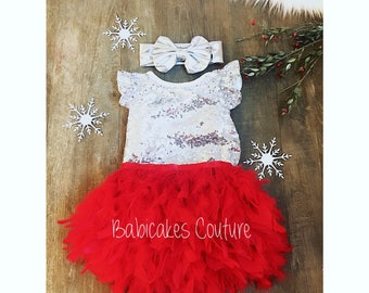 Babys 1st Christmas, Full Feather Tutu, Baby Silver Sequin Bodysuit, Silver Headband, Red and Silver 1st Christmas, 1st Birthday Girl Outfit